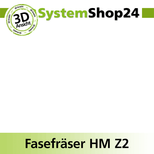 Systemshop24 Viertelstabfräser mit Kugellager HM Z2 D38,1mm AL19mm R12,7mm GL63m