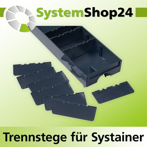 tanos trennstege klein 10er pack anthrazit f r schubladen systainer i iii iv. Black Bedroom Furniture Sets. Home Design Ideas