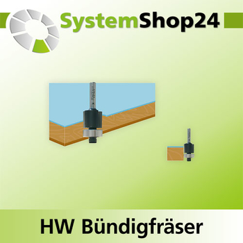 Systemshop24 Bündigfräser mit Kugellager HM Z2 D16mm AL32mm GL76mm S8mm